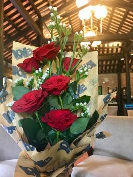 We even got a little anniversary bouquet!