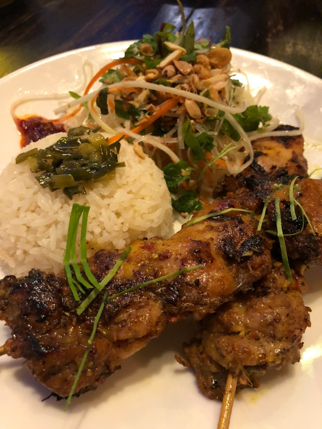 Lemongrass chicken skewers & rice
