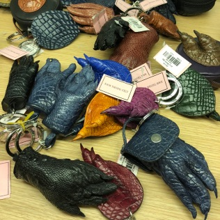 Real crocodile feet made into keychains! yikes!