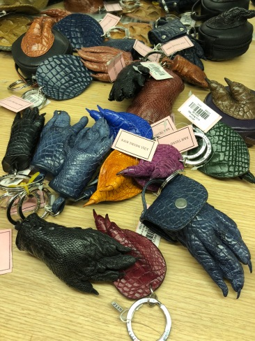 Real crocodile feet made into keychains! yikes!